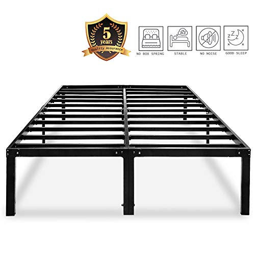 HAAGEEP King Platform Bed Frame with Storage 14 Inch Metal Beds Frames No Box Spring Needed Heavy Duty Black, A