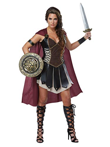 California Costumes Women's Glorious Gladiator Adult Woman, Black/Burgundy, Large