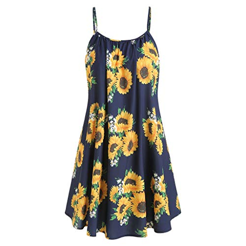 MURTIAL Women's Short Sleeve Bow Knot Bandage Top Sunflower Print Mini Dress Suits(Navy1,XXL) - Bag Notre Gym Dame