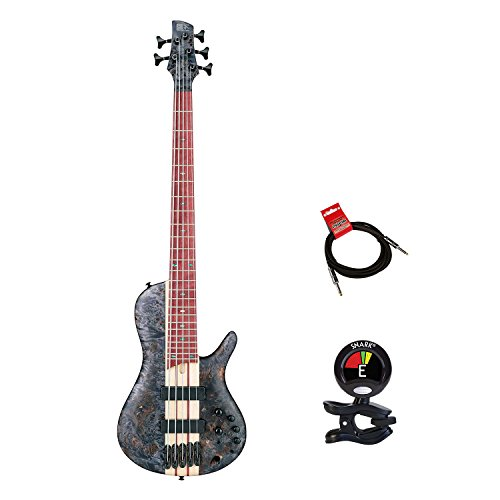 Ibanez SRSC805DTF Bass Workshop 5 String Bass Guitar Package in Deep Twilight Flat Finish With Guitars Clip On Tuner and Instrument Cable Bundle