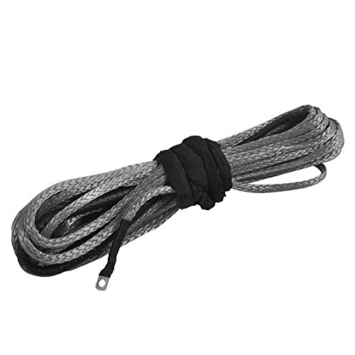 "Price comparison product image AceFox 1/4"" x 50' 3/16""x 50' Durable Winch Rope 7000 / 5500 LBS Synthetic ATV UTV KFI Vehicle Car Motorcycle (1/4"" x 50', Gray)"