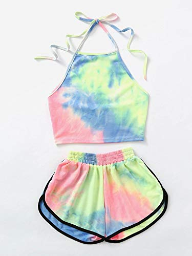 Women Summer Tie Dye Set Halter Top Short Pants Two Piece Backless Water Color Crop Top Sexy Hot Pants Sweat Ensemble…