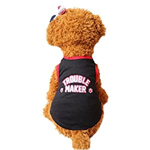 Wakeu Puppy Vest Pattern Pet Clothes for Small Dog Boy Girl Summer Apparel (XS, Trouble Maker)