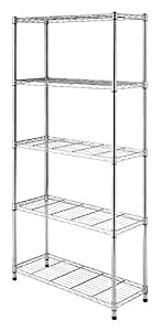 Whitmor Supreme 5 Tier Shelving with Adjustable Shelves and Leveling Feet - Chrome