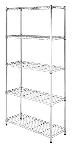 (Whitmor Supreme 5 Tier Shelving with Adjustable Shelves and Leveling Feet - Chrome)