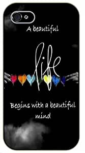 iPhone 5 / 5s A beautiful life begins with a beautiful mind, black plastic case / Inspirational and motivational life quotes / SURELOCK AUTHENTIC hjbrhga1544