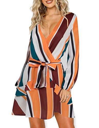 AOOKSMERY Women Sexy Strips Ruffles V-Neck Long Sleeve Empire Waist Short Dress with Belt (Orange, Medium)