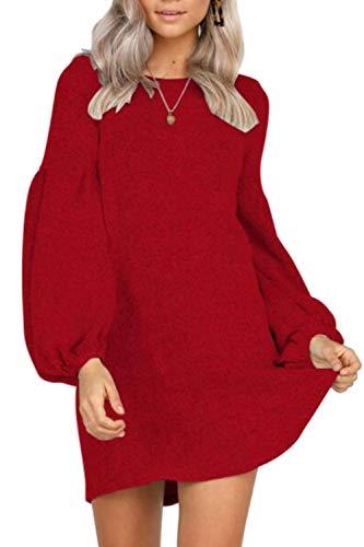 La Mujer Una Linea De Vestidos Casual Vestido Mini Puff Sleeve Loose Rojo S