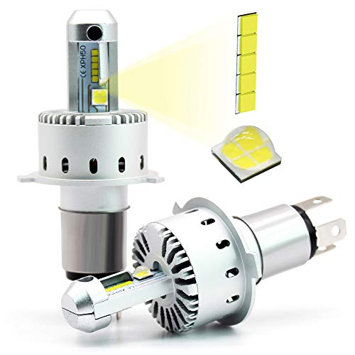 Boodlied 40Watts H4 9003 P43T HS1 LED Headlight Bulb All-in-One Conversion Kit,8000Lumens 6500K Hi-Low Beam 9003 HB2 Auto LED Head Lights.White.2-Pack.