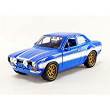 Jada Toys Fast & Furious Movie 1970 Brian's Ford Escort Blue with White Stripes, 1/24 Diecast Model Car