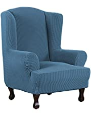 H.VERSAILTEX 1 Piece Wingback Chair Cover Super Stretch Stylish Furniture Cover/Slipcover Spandex Jacquard Checked Pattern Super Soft Slipcover Machine Washable/Skid Resistance