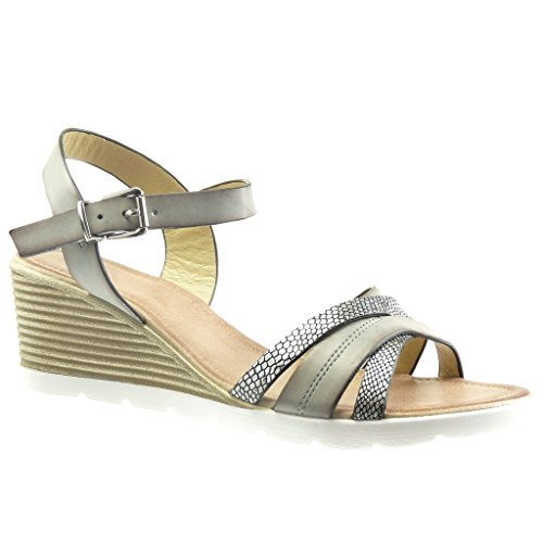 Angkorly - Scarpe Da Donna Sandali - Scarpe Con Plateau - Suola Sneaker - Pelle Di Serpente - Tacco A Spillo Multi-tacco Alto 6 Cm - Grigio