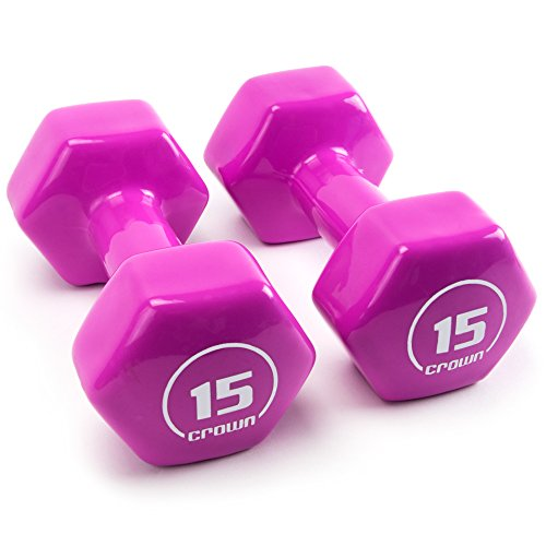 15 lb Vinyl Hex Hand Weights, Brightbells Spectrum Series I: Tropical | Colorful Coated Set of Non-slip Exercise Dumbbell Free Weight Training Pairs | Home & Gym Workout Equipment