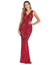 Wine Red Sequin V Neck Backless Spaghetti Strap Dress