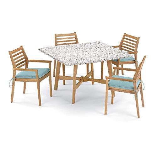 Oxford Garden Wexford 5 Piece Natural Shorea Patio Dining Set W/ 48 Inch Square Lite-Core Ash Table & Sunbrella Canvas Mineral Blue Cushions