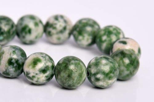 (8mm Natural Green Dalmation Jasper Beads Grade Round Loose Beads 7'' Crafting Key Chain Bracelet Necklace Jewelry Accessories Pendants)