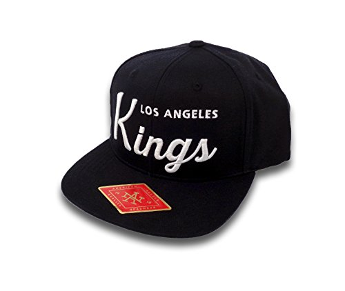 American Needle Los Angeles Kings Script Logo Snapback Hat Black American Needle Embroidered Cap