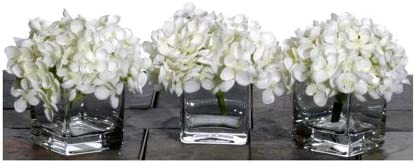 Vickerman Mini Hydrangea in A Glass Cube with Acrylic Water Comes, Set of 3