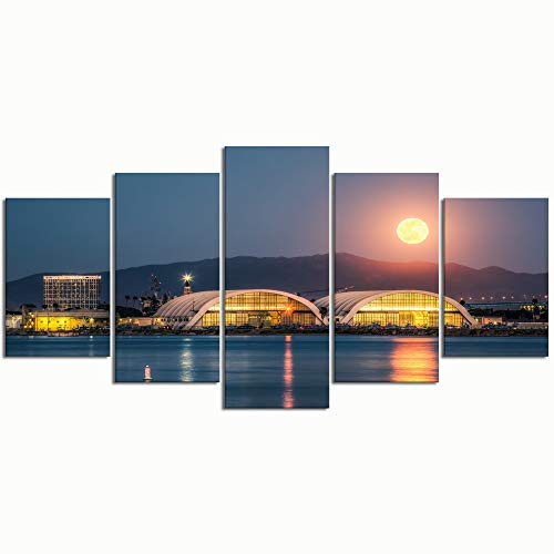 Paintings Modern Canvas Painting Wall Art Pictures 5 Pieces Moonrise, San Diego BayDecor HD Printed Posters Frame (Best Choice Painting San Diego)