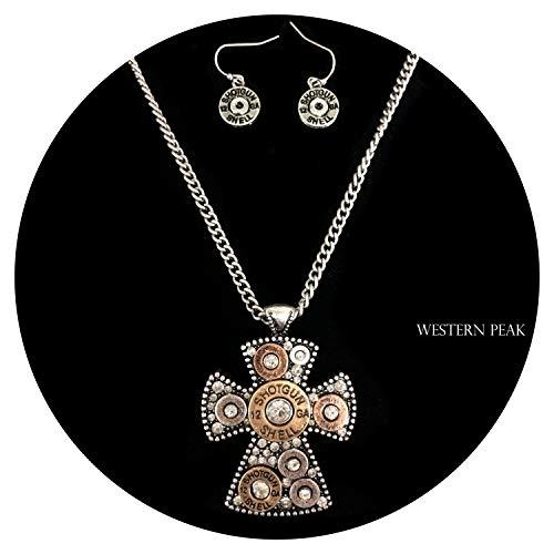 Western Peak 12 Gauge Shotgun Bullet Shell Duo Tone Cross Pendant Chain Necklace with Earrings ()
