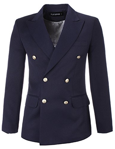 FLATSEVEN Mens Designer Slim Double Breasted Peaked Lapel Blazer Jacket (BJ444) Navy, S