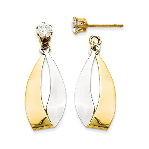 Roy Rose Jewelry 14K Yellow Gold Oval Dangle Jacket w/Rhodium and CZ Earrings by Roy Rose Jewelry