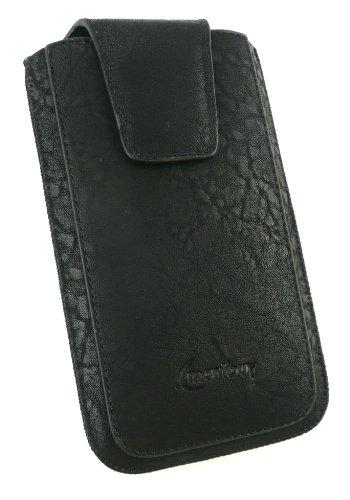 Emartbuy® Stylus Pack Para HTC Butterfly S Range Classic Luxury Cuero Negro Pu Slide En La Bolsa / Caja / Manga / Titular (Tamaño 4Xl) Con Magnético De La Aleta & Pull Tab + Mecanismo Metálico Mini Ne