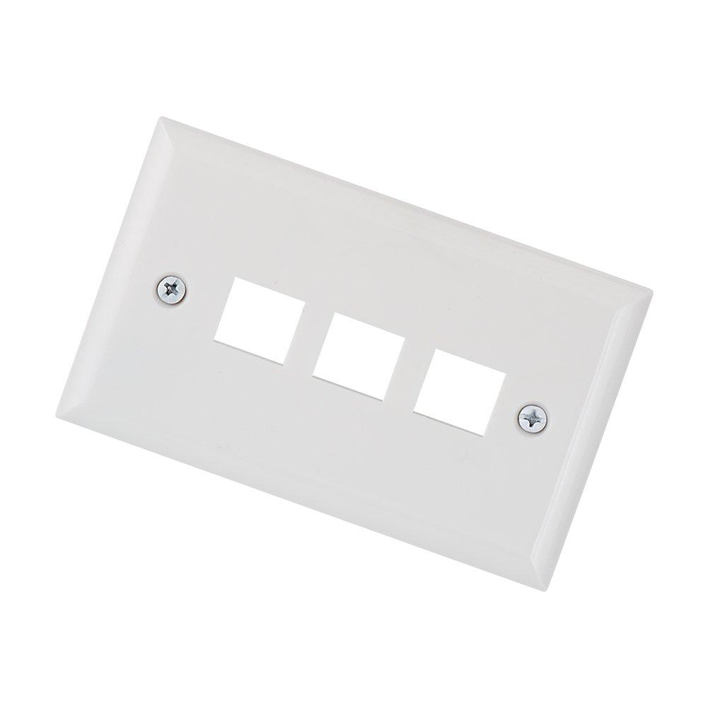 Keystone Wall Plates, MACTISICAL 3 Port Single Gang Keystone Face Plates 10 Pack by MACTISICAL (Image #3)