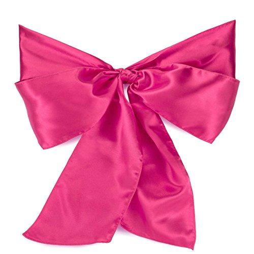 Lann's Linens - 10 Elegant Satin Wedding/Party Chair Cover Sashes/Bows - Ribbon Tie Back Sash - Fuchsia