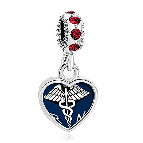 CharmSStory Nurse Nursing RN Registered Caduceus Charms Heart Photo Beads (Dangle -