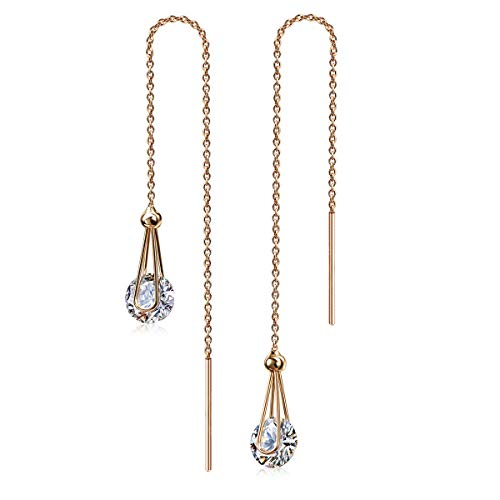 Kainier Drop Dangle Earrings CZ Tear Drop Style Ear Drops 14K Rose Gold Plated Cubic Zirconia Dangling Earrings for Women and Girls