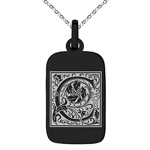 Black Stainless Steel Letter C Initial Floral Box Monogram Engraved Small Rectangle Dog Tag Charm Pendant Necklace (Dog Rectangular Tag Pendant)