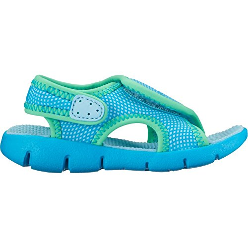 NIKE Toddler Girl's Sunray Adjust 4 Sandals Still Blue/Chlorine Blue-Electro Green (Nike Lightweight Sandals)