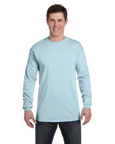 Komfort Färger Mens Ringspun Plagg-färgade Lång-muff T-skjorta (c6014) Chambray