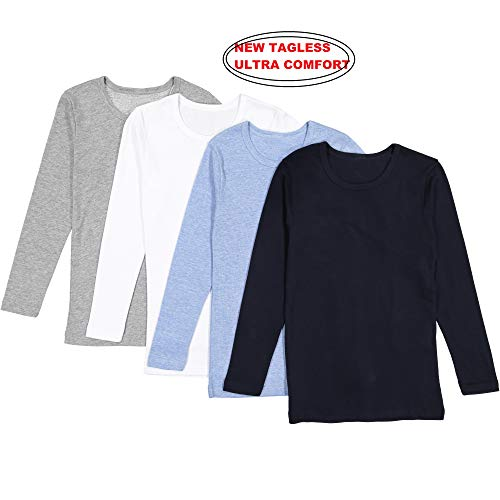 (Brix Boys' Long Sleeve Tees - Combed Cotton Super Soft 4-pk Crewneck Shirts. 3/4 )