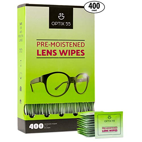 Pre-Moistened Lens Cleaning Wipes - 400 Cloths - Safely Cleans Glasses, Sunglasses, Camera Lenses, and Electronic Quickly & Efficiently - Travel - by Optix 55