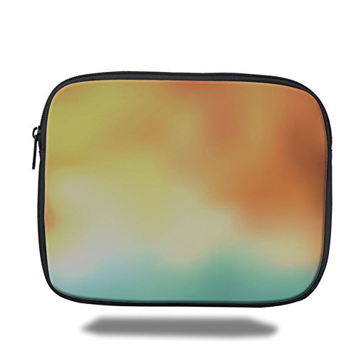 Laptop Sleeve Case,Yellow and Blue,Blur Image with Dreamy Display Abstract Modern Art Style Decorative,Warm Taupe,iPad Bag by iPrint