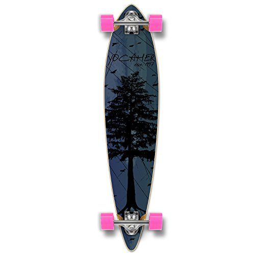 Yocaher in The Pines Blue Longboard Complete Skateboard - Available in All Shapes (Pintail)