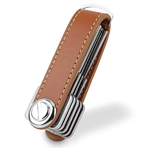 Compact Key Holder Leather Keychain, Bosiwee Smart Key Organizer, Folding Pocket Key Holder Chain2.0 (up to 16 keys)