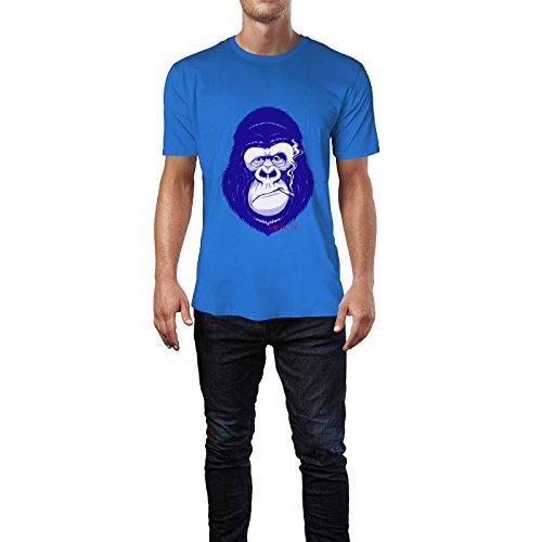 SINUS ART® Affen mit Zigarette und Zigarre Herren T-Shirts in Blau Fun Shirt mit tollen Aufdruck