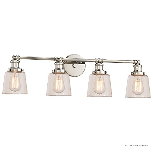 Luxury Industrial Chic Bathroom Vanity Light, Large Size: 9''H x 31.5''W, with Modern Style Elements, Nostalgic Design, Polished Nickel Finish and Light Champagne Glass, UQL2682 by Urban Ambiance by Urban Ambiance (Image #7)