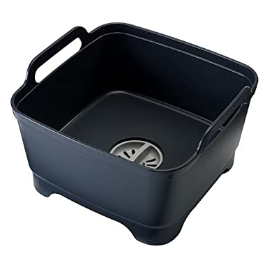 Joseph Joseph 85056 Wash and Drain Dish Tub Plastic Dishpan with Draining Plug Carry Handles for Dishwashing Cleaning 12.4-inch x 12.2-inch x 7.5-inch, Black