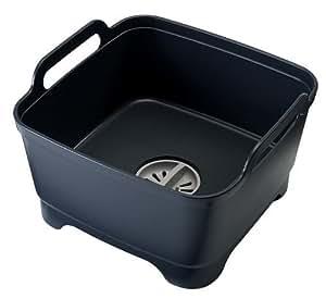 Joseph Joseph 85056 Wash and Drain Dish Tub Plastic Dishpan with Draining Plug Carry Handles for Dishwashing Cleaning 12.4-inch x 12.2-inch x 7.5-inch, Grey