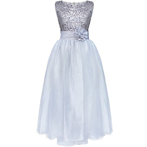 FEESHOW Kids Big Girls Sequined Formal Wedding Bridesmaid Pageant Party Flower Girl Dress Size 10-12 Silver