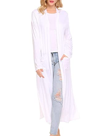 2394dfa1e76 Locryz Women s Long Open Front Maxi Duster Cardigans Long Sleeve  Lightweight Sweaters (S