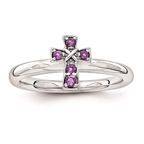 Amethyst Silver Plated Cross - 4