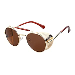 Sunglasses Side Shield Steampunk Vintage Cool UV Protection Round Glasses For Women&Men