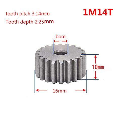 1 Mod Pinion Gear 12T-150T Spur Gear 45# Steel Motor Pinion Gear Thickness 10mm x1Pcs (1Mod 14T) ()