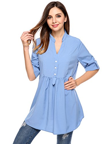Meaneor Womens Blouses Roll Up Chiffon product image