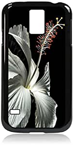 White Hibiscus - Case for the Galaxy S5 i9600- Hard Black Plastic Snap On Case with Soft Black Rubber lining